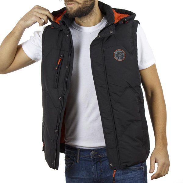 Αμάνικο Μπουφάν Puffer Jacket με Κουκούλα ICE TECH G625 Μαύρο