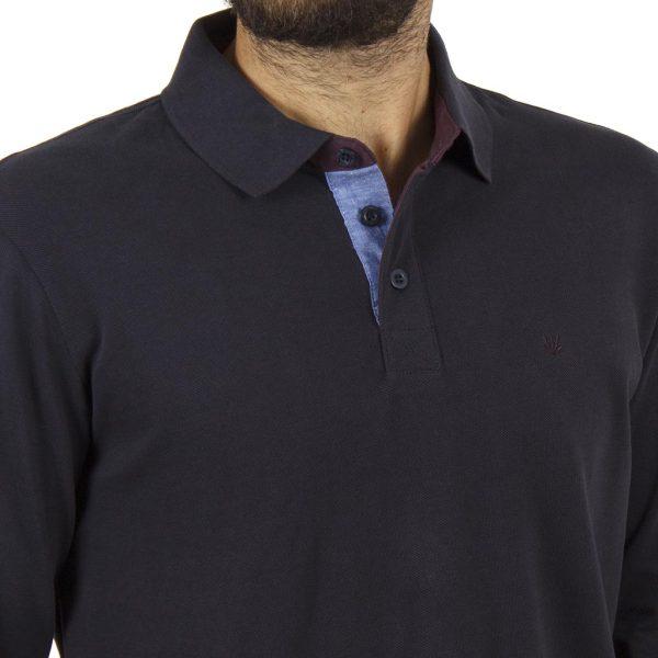 Μακρυμάνικη Μπλούζα με Γιακά FUNKY BUDDHA FBM001-11218 Navy
