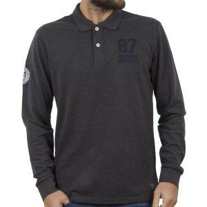 Μακρυμάνικη Μπλούζα με Γιακά FUNKY BUDDHA FBM003-11218 Ανθρακί