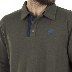 Μακρυμάνικη Μπλούζα με Γιακά POLO CARAG CORN 77-555-19N Χακί