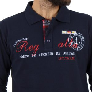 Μακρυμάνικη Μπλούζα με Γιακά POLO CARAG PIQUE 99-505-19N Navy