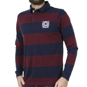 Ριγέ Μακρυμάνικη Μπλούζα με Γιακά DOUBLE Jersey Polo PS-217 Μπορντό-Μπλε