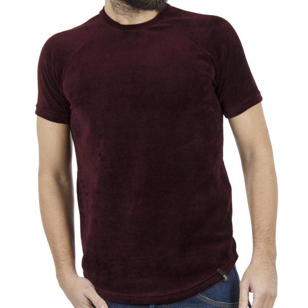 Κοντομάνικη Βελουτέ Μπλούζα T-shirt FREEWAVE 82116 Μπορντό