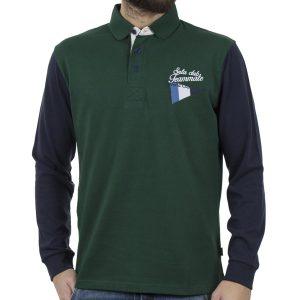 Μακρυμάνικη Μπλούζα με Γιακά Polo SNTA S14-1-06 Πράσινο