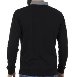 Μακρυμάνικη Μπλούζα με Γιακά Polo SNTA S14-1-12 Μαύρο
