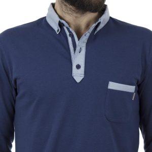 Μακρυμάνικη Μπλούζα με Γιακά Polo SNTA S14-1-12 Μπλε