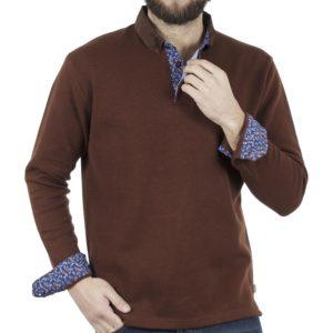 Μακρυμάνικη Μπλούζα με Γιακά Polo SNTA SW16-4-50 Καφέ