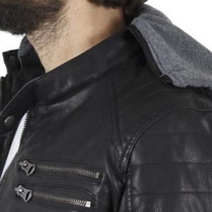 Μπουφάν MOTORCYCLE Biker Jacket FUNKY BUDDHA FBM-026-01218 Μαύρο
