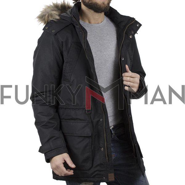 Μακρύ Μπουφάν Parka Jacket με Κουκούλα ICE TECH C17 Μαύρο