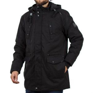 Μακρύ Μπουφάν Parka Jacket με Κουκούλα DOUBLE MJK-113 Μαύρο