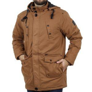 Μακρύ Μπουφάν Parka Jacket με Κουκούλα DOUBLE MJK-113 Camel