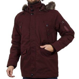 Μακρύ Μπουφάν Parka Jacket με Κουκούλα DOUBLE MJK-118 Μπορντό