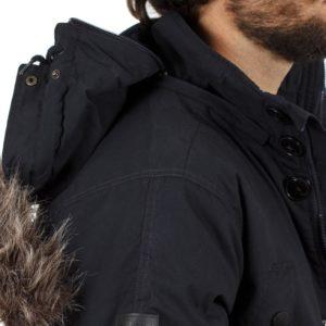 Μακρύ Μπουφάν Parka Jacket με Κουκούλα DOUBLE MJK-118 Navy