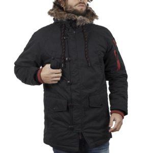 Μακρύ Μπουφάν Parka Jacket με Κουκούλα FUNKY BUDDHA FBM018-01218 Μαύρο