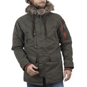 Μακρύ Μπουφάν Parka Jacket με Κουκούλα FUNKY BUDDHA FBM018-01218 Χακί