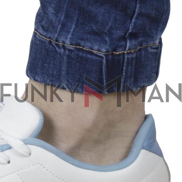 Τζιν Παντελόνι με Λάστιχα Chinos Back2jeans B22B Slim Carrot Μπλε
