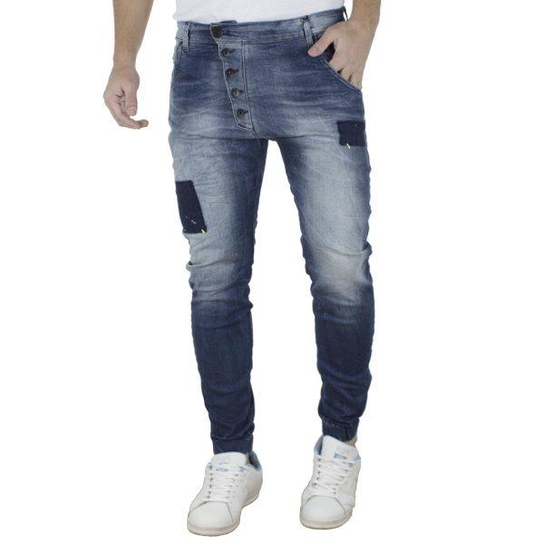Jean Παντελόνι Chinos με Λάστιχα DAMAGED jeans Slim Carrot D14 Μπλε