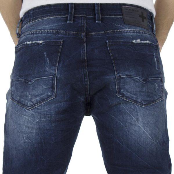 Τζιν Παντελόνι Slim Fit DAMAGED JEANS D15 Μπλε