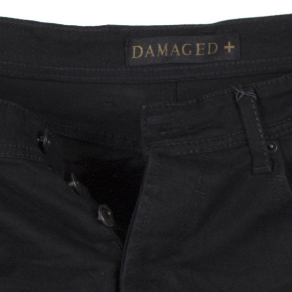 Τζιν Παντελόνι Slim Fit DAMAGED JEANS D15B Μαύρο
