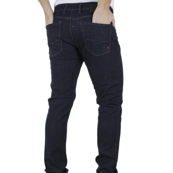 Τζιν Παντελόνι Slim Fit DAMAGED JEANS D15C σκούρο Μπλε