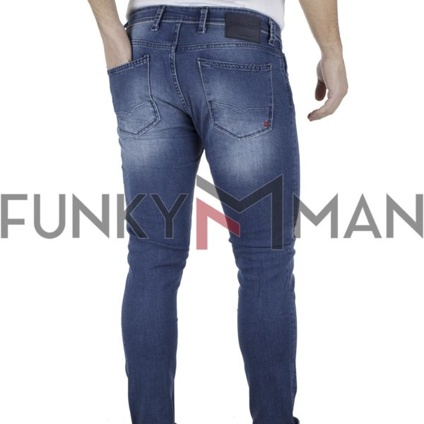 Τζιν Παντελόνι Slim Basic DAMAGED jeans D15Y Μπλε