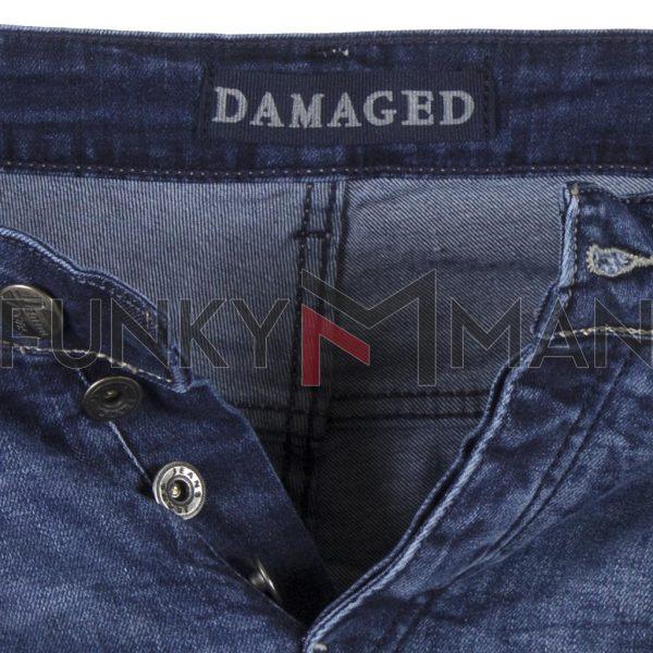 Τζιν Παντελόνι DAMAGED JEANS Slim D35A Μπλε