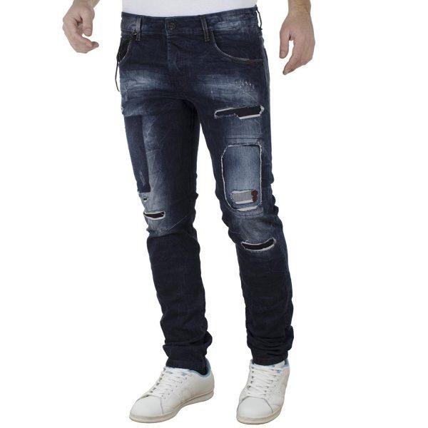 Jean Παντελόνι Slim Fit DAMAGED jeans D4 σκούρο Μπλε