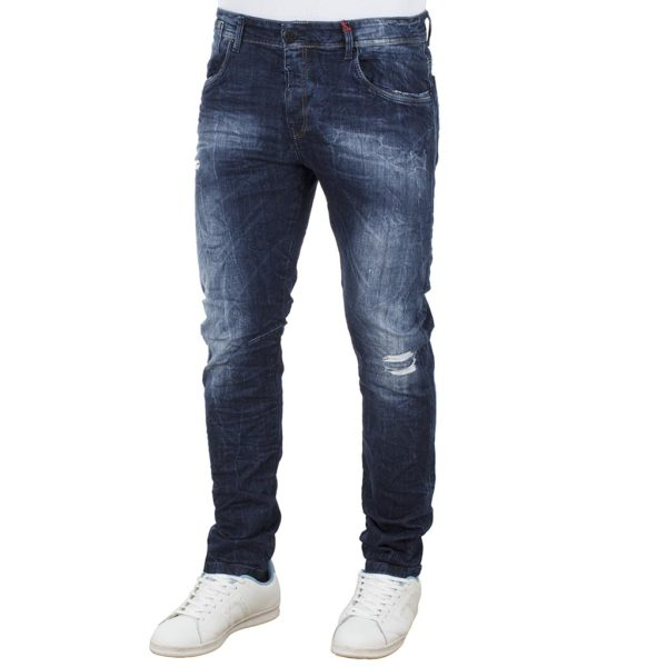 Jean Chinos Παντελόνι DAMAGED jeans Slim Fashion D5A Μπλε