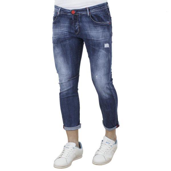 Κοντό Jean Παντελόνι DAMAGED jeans Slim Fashion D5C Μπλε