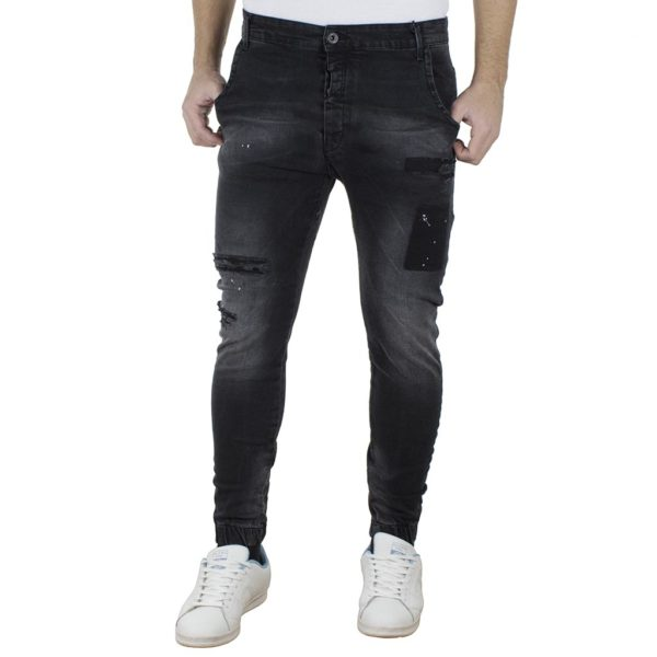 Jean Παντελόνι Chinos με Λάστιχα DAMAGED Slim D6 Μαύρο