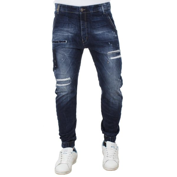Jean Παντελόνι Chinos με Λάστιχα DAMAGED jeans D6B Μπλε