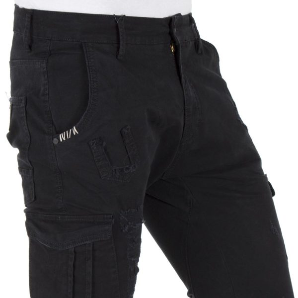 Cargo Παντελόνι με Λάστιχα COVER LOFT T0182 Μαύρο