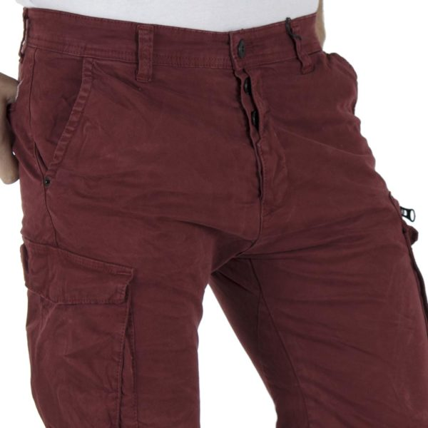 Cargo Παντελόνι DAMAGED jeans Army D37B Wine Red