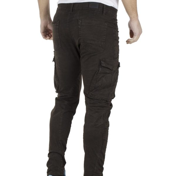 Cargo Παντελόνι με Λάστιχα DAMAGED Army D98B σκούρο Καφέ