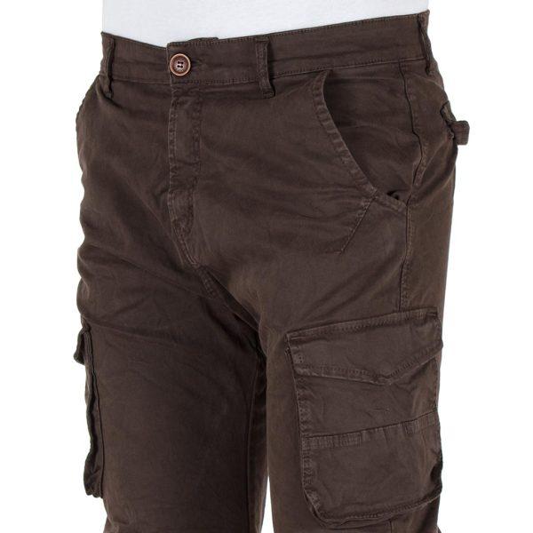 Παντελόνι Chinos Cargo με Λάστιχα Back2jeans army W18 σκούρο Καφέ