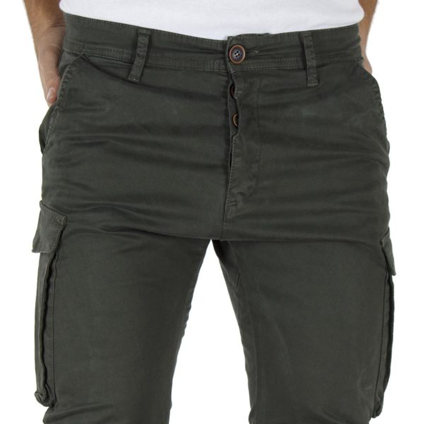 Παντελόνι Cargo με Λάστιχα Rib on Leg DAMAGED T37 Χακί