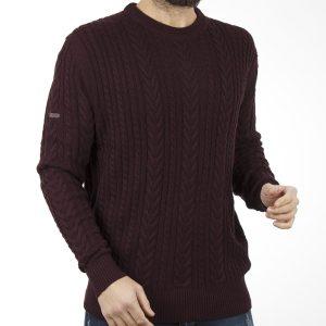 93c5b5a0b877 Πουλόβερ Πλεκτή Μπλούζα Sweater Round Neck DOUBLE KNIT-15 Μπορντό