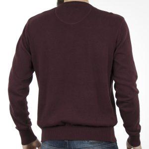 Πλεκτή Μπλούζα V-Neck Sweater DOUBLE KNIT-18 Μπορντό