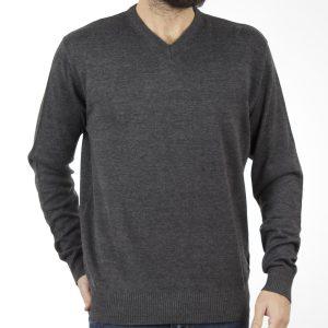 Πλεκτή Μπλούζα V-Neck Sweater DOUBLE KNIT-18 σκούρο Γκρι