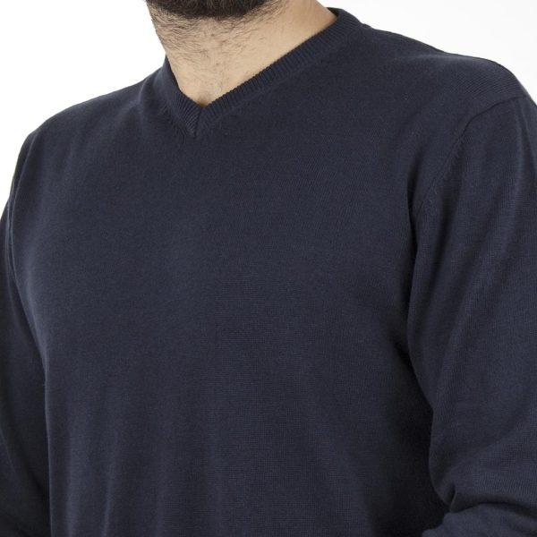 Πλεκτή Μπλούζα V-Neck Sweater DOUBLE KNIT-18 Navy