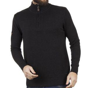 Πουλόβερ Πλεκτή Μπλούζα Sweater Zipper-Top DOUBLE KNIT-16 Μαύρο