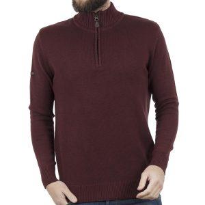 Πουλόβερ Πλεκτή Μπλούζα Sweater Zipper-Top DOUBLE KNIT-16 Μπορντό