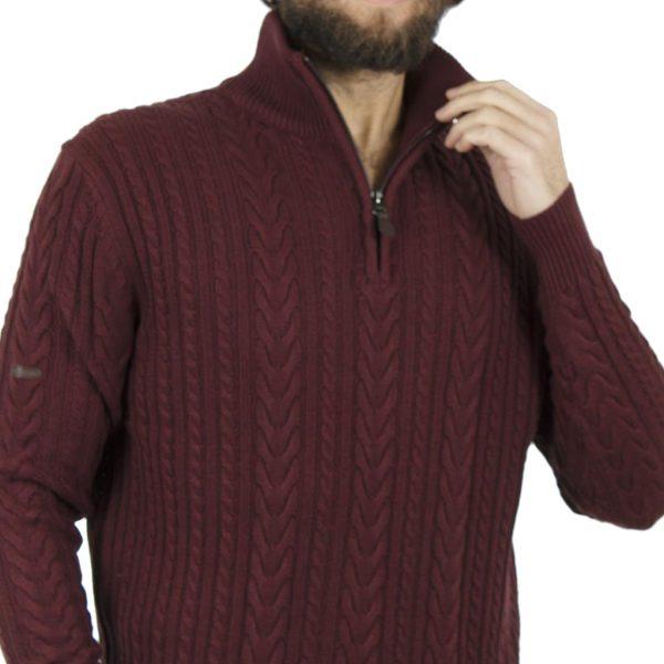 Πουλόβερ Πλεκτή Μπλούζα Sweater Zipper-Top DOUBLE KNIT-17 Μπορντό
