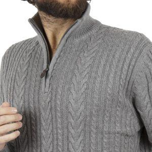 Πουλόβερ Πλεκτή Μπλούζα Sweater Zipper-Top DOUBLE KNIT-17 Γκρι