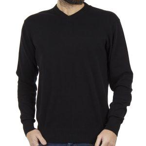 Πλεκτή Μπλούζα V-Neck Sweater DOUBLE KNIT-18 Μαύρο