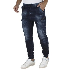 Jean Παντελόνι με Λάστιχα Cargo Chinos DAMAGED jeans Army D37A Μπλε