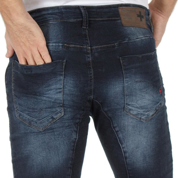 Jean Παντελόνι DAMAGED jeans slim fashion D5 Μπλε