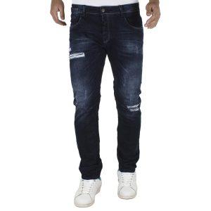 Jean Παντελόνι DAMAGED jeans slim fashion D5A Μπλε