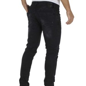 Jean Παντελόνι DAMAGED jeans slim fashion D5B Μαύρο