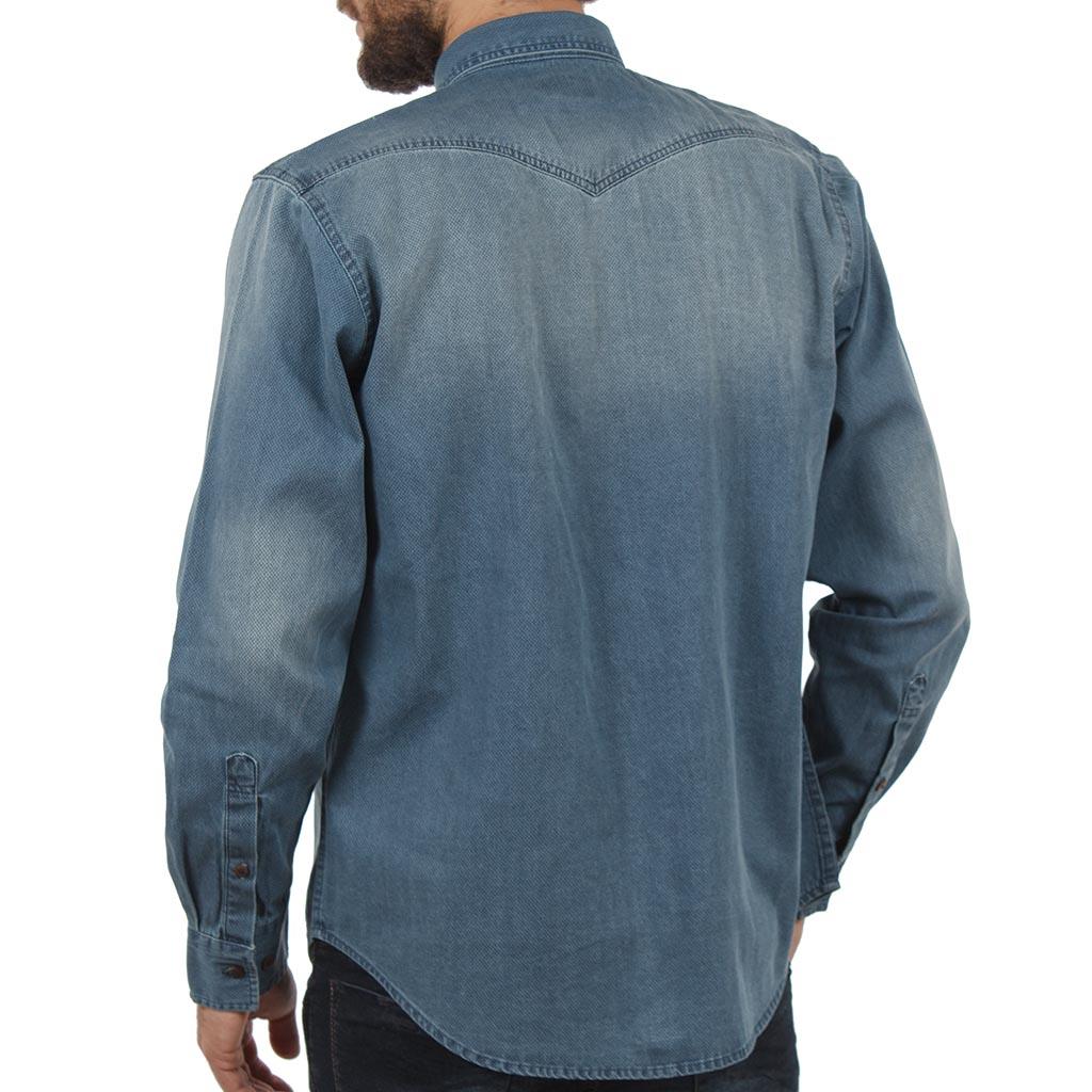 Τζιν Μακρυμάνικο Πουκάμισο Regular Fit DOUBLE DS-8 Stone Blue ... 20e993e384f